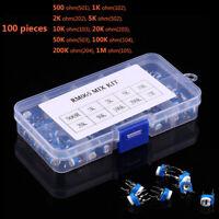 100Pcs 10 Variable Values Assortment Box kits Potentiometer Resistance RM065