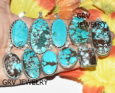100pcs Natural Turquoise Gemstone Pendant Wholesale Lot 925 Silver Overlay wh-40
