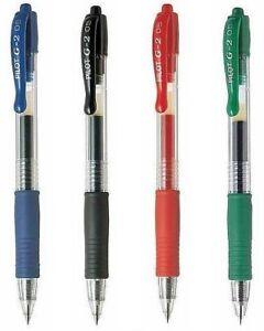 4 x Pilot Pen G-205 Fine Nib Gel Ink Retractable Rollerball Red Blue Green Black