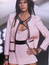 CHANEL PINK LEATHER LAMBSKIN BLACK TULLE MESH JACKET