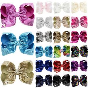 Kids Girls JOJO Sequin Glitter Sparkly Hair Clips Ribbon Hair Bowknot Headdress