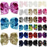 Kids Girls 8 '' Shiny Sequin Unicorn Cute Bowknot Hair Clips Hair Bow Hairpins