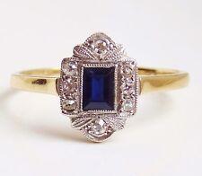Stunning Antique Art Deco 18ct Gold Sapphire & Diamond Ring c1930; Size 'S 1/2'
