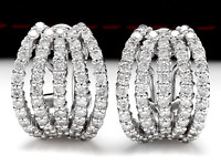 3.60Ct Natural Diamond 18k Solid White Gold Cluster Earrings