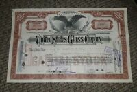 STOCK CERTIFICATE 22 Shares US UNITED STATES GLASS COMPANY CO Pennsylvania OLD!