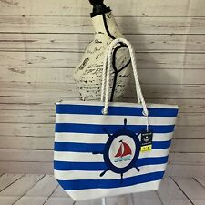 "Nwt 22"" Insulated Canvas Nautical Summer Beach Marine Cooler Picnic Bag Tote"
