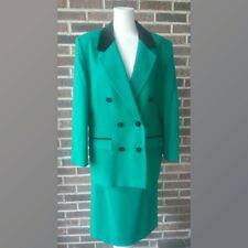 Vintage Pendleton Kelly Green Wool  Suite Double Breasted Blazer Velvet Trim