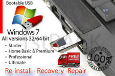 Windows 7 32-64bit All Versions Reinstall, Recovery USB Flash Drive & DVD +HD