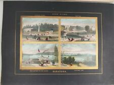 Original Charles Magnus Map Saratoga NY Bird's Eye View 1860s Lithograph Print
