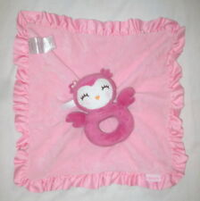 Carters Pink Owl Baby Girl Security Blanket Lovey Rattle