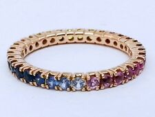 R122 Genuine 9ct Rose Gold Natural Rainbow Sapphire FULL Eternity Ring size M