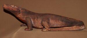 Vintage hand carving wood lizard Komodo Dragon figurine