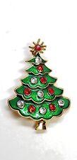 Christmas Tree Pin Green Enamel Gold Tone Red Clear Rhinestones Brooch