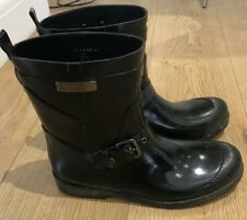 "COACH ""LESTER"" RAIN BOOTS / WELLINGTONS, HIGH SHINE BLACK - UK 6"