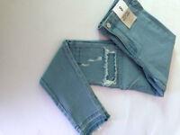 """Primark Women's Sky Blue High Waist """"Rip Repair"""" Look Skinny Jeans"""