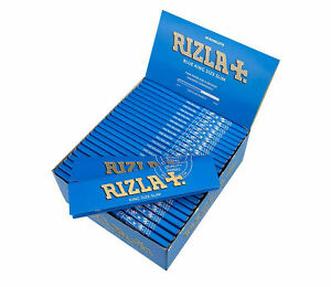 50 Booklets Full Box King Size Blue Slim Rolling Cigarette Papers
