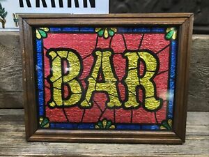"""Vintage BAR Sign - 13.5"""" x 10.5"""" - faux stained glass in wood frame"""