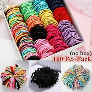 100Pcs Kids Multicolor Stretch Hair Ring Child Ponytail Holder Rubber Hair Ropes