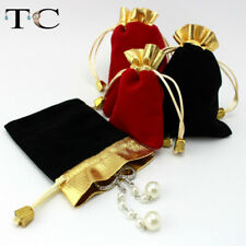 100pcs Luxury Jewelry Pouches Packing Velvet Gift Bags Ring Necklace Drawstring