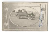 RPPC Postcard Family Driving Antique Car