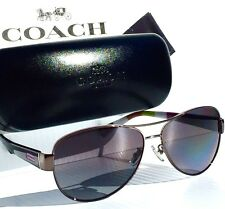 NEW* Coach KRISTINA Aviator Dark SILVER w POLARIZED Grey Sunglass HC7003 L012