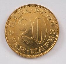 Yugoslavia SFRJ 1979 20 Para Coin Communist Coat of Arms Banknote Dinar UNC Cent