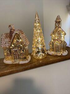 Valerie Parr Hill Gold 3 Piece Mercury Glass Village