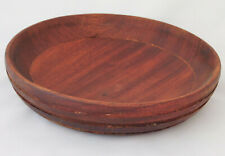 Vintage wooden plate bowl shallow dish traditional wood craft home decor 10""