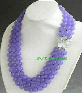 New 3 Rows 8mm Purple Lavender Alexandrite Round Gemstone Beads Necklace 22-24""