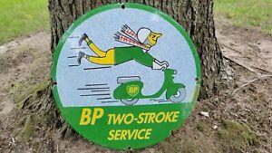 OLD VINTAGE BP TWO-STROKE GASOLINE & MOTOR OILS PORCELAIN GAS STATION SIGN