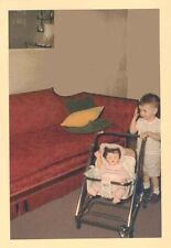 Old Vintage Photograph Adorable Little Boy Pushing Doll in Doll Carriage