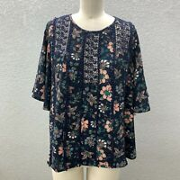 Knox Rose Peasant Tunic Top Women's M Navy Floral Keyhole Back 3/4 Wide Sleeve