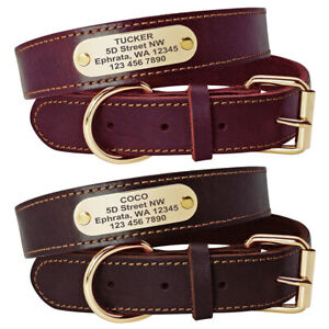 Real Leather Personalized Dog Collars Name ID Collar with Nameplate Engraved S-L