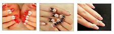 False Nails - Full Cover 3d Oval Fake Polka Dot - Bows Flowers Red Pink Wedding