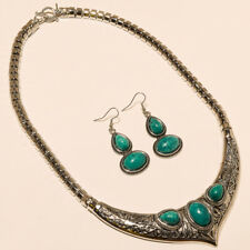 Silver Turquoise Necklace Earring Turkish Boho Necklace 925 Silver Jewelry
