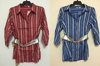 Cato Striped Plus Size Multiple Size Belted Blue & Red Button Down Shirt Top New