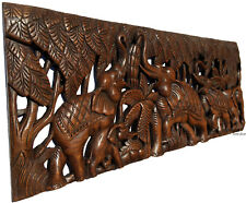 """Elephant Family Wood Carved Wall Panel. Tropical Home Decor. 35.5""""x13.5"""" Brown"""