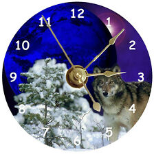 NEW Wolf With Moon Behind CD Clock
