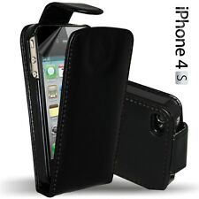 BLACK LEATHER FLIP CASE COVER FOR APPLE IPHONE  4S 4GS & SCREEN PROTECTOR