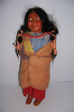 """VINTAGE SKOOKUM BULLY GOOD INDIAN WOMAN DOLL WITH PAPOOSE AND BEADS 10"""""""