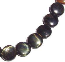 10 Large Natural Blue Tiger Eye Coin Flat Round Beads 20mm K4601