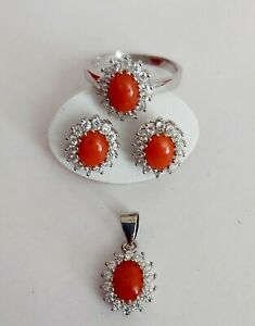 Natural Red Coral CZ 925 Sterling Silver Pendant Earring Ring Jewelry Set Italy