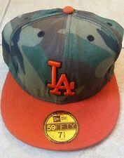 MLB LA DODGERS 59Fifty Fitted Baseball Hat New Era 7 1/2 Orange w/camo