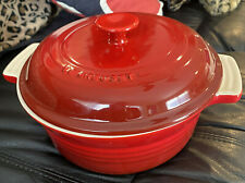 Le Creuset Cherry Red 1.5 Quart Stoneware Round 8 in Casserole Dish & Lid New