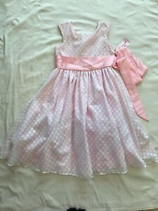 NWT GOOD GIRL BOUTIQUE HOLIDAY DRESS SIZE 12 -PINK WITH WHITE POLKA DOTS