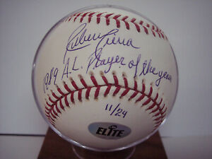 "RUBEN SIERRA ""1989 AL PLAYER OF THE YEAR""  11/24 SIGNED MLB BASEBALL -ELITE COA"