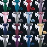 Classic Blue Red Black Mens Tie Set Necktie Silk Plaid Jacquard Hanky Cufflinks
