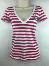 Hollister Women's Pink & White Short Sleeve V Neck Shirt Size XS
