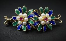 """Art Nouveau 14k Yellow Gold Enamel Ruby Seed Pearl Floral Brooch Pin 1.5"""" OG123"""