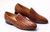 US 5-12 Mens Woven Leather Flat Slip on Business Casual Shoes Loafers Moccasins